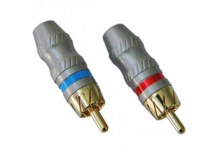 Incar Разъем RCA цвет - сатин.никель 25шт.красн+25шт.син.упак